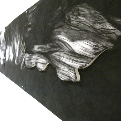Course Artwork – Alia di Paolo, Momentum is the only constant [detail], 400 x 42cms, charcoal, 2011 – Click to view course details