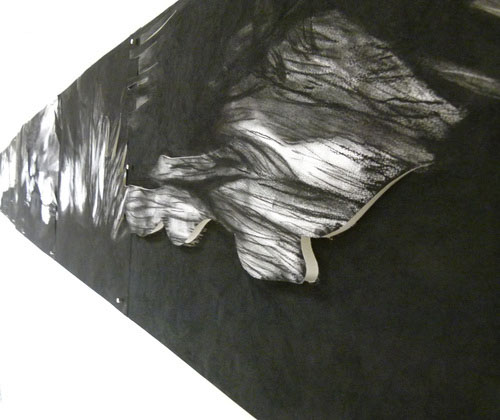 Course Artwork – Alia di Paolo, Momentum is the only constant [detail], 400 x 42cms, charcoal, 2011