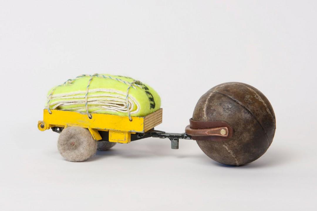 Course Artwork – Anita Larkin, Second skin, collected objects, felt, 6.5x17.5x7cm