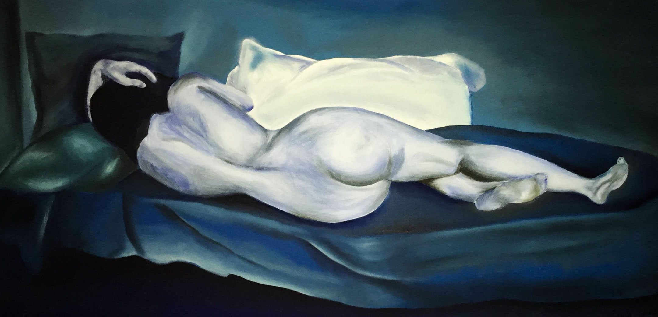 Course Artwork – Leila el Rays, Reclining Nude in Blue, oil and acrylic on canvas, 2014, after Hugh Ramsay's Reclining Nude 1901