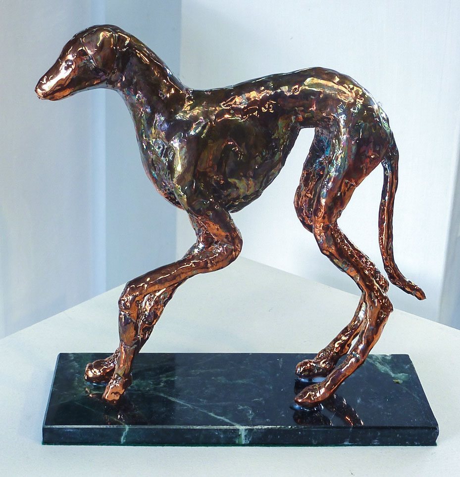 Course Artwork – Student work, Christina Ambrose-Keyes, Ziggy, Wax, electroplated bronze, marble base