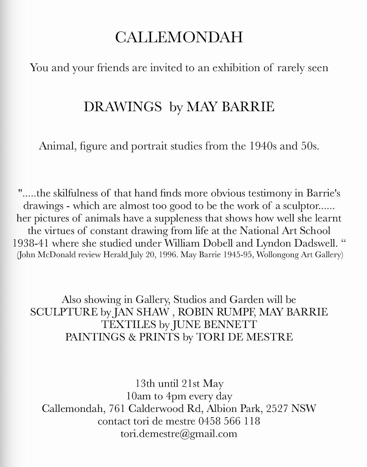 Drawings by May Barrie, Exhibition at Callemondah Invitation