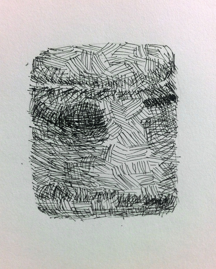 Jenny Murphy, Glass jar and Lid, Fine tip pen on paper, Drawing Fundamentals session on hatching and the use of building repetition to create depth and form