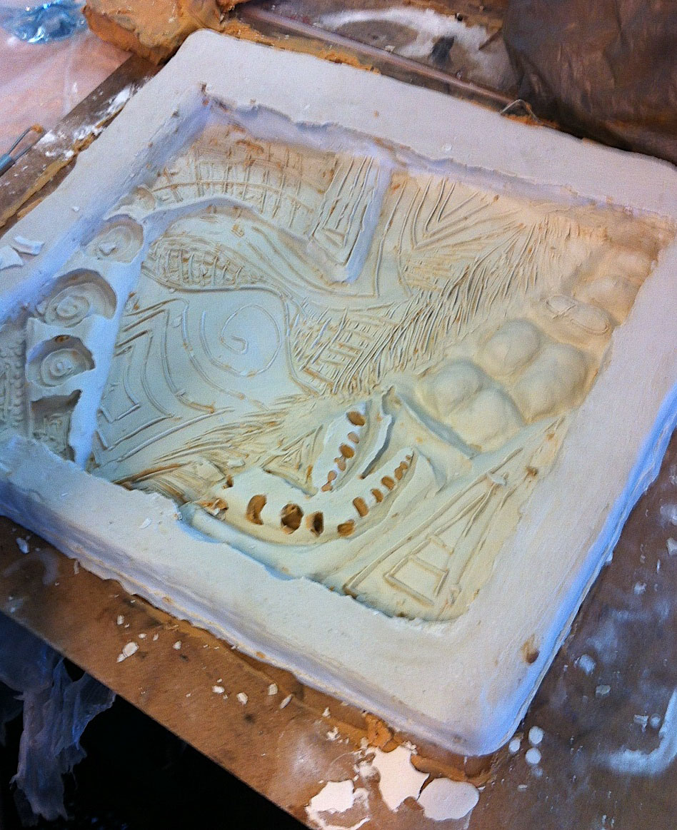 Creating a waste mould for casting a bas-relief, St Ives High visual art students