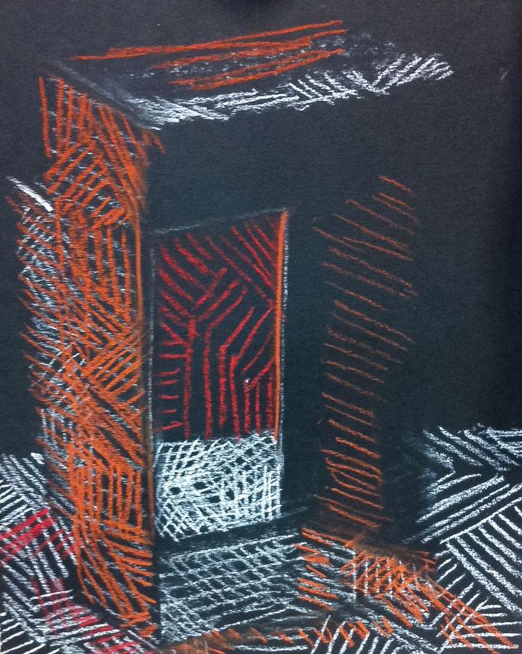 Course Artwork – Christine Simpson, Aperture with hatching techniques, conte crayon, 2017