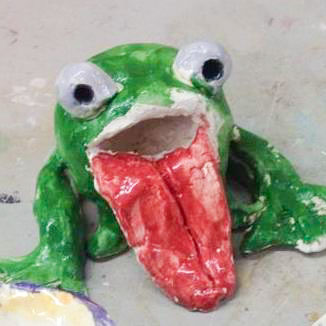 Course Artwork – Clay frogs with Christina Frank, 2017 – Click to view course details