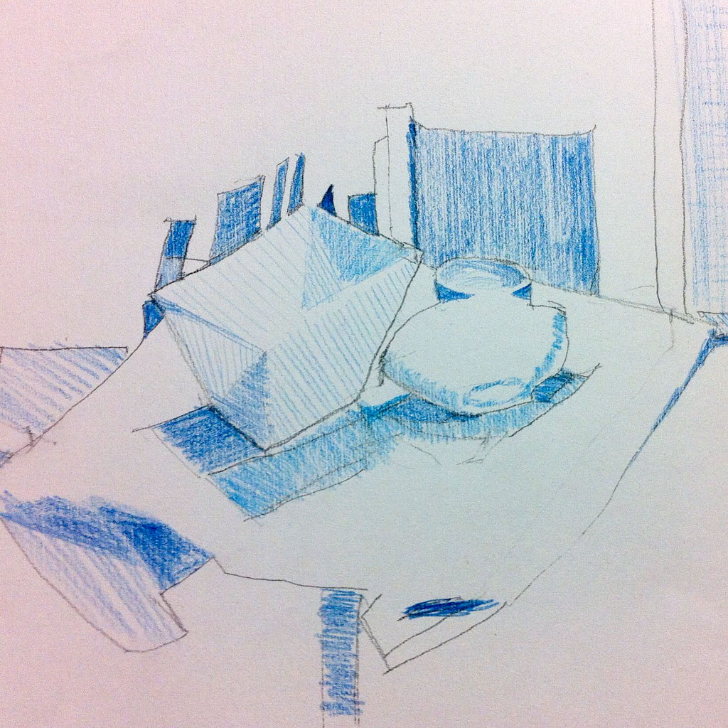 Course Artwork – Drawing fundamentals observing negative shapes to find the positive subject, coloured pencil