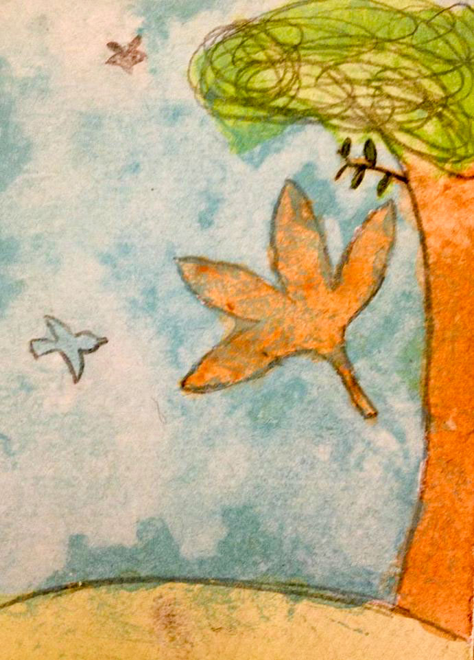 Course Artwork – Kids Art Club, exploring winter themes via drawing and watercolour