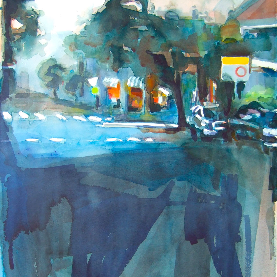Course Artwork – Tanya Baily, The Street, Watercolour , 2017 – Click to view course details
