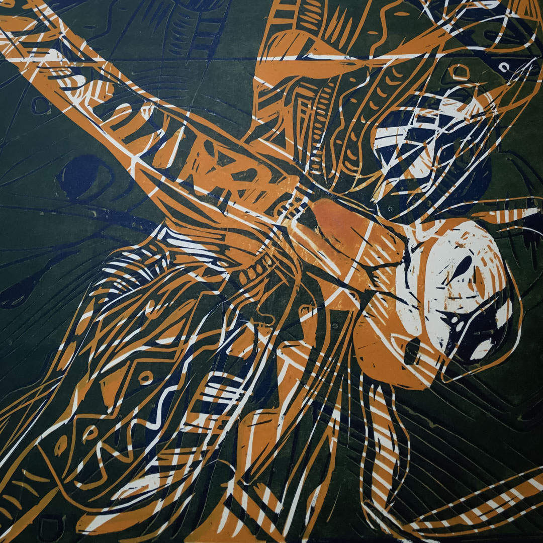 Class Artwork – Lino Relief Printmaking Dragonfly – click to view workshop details