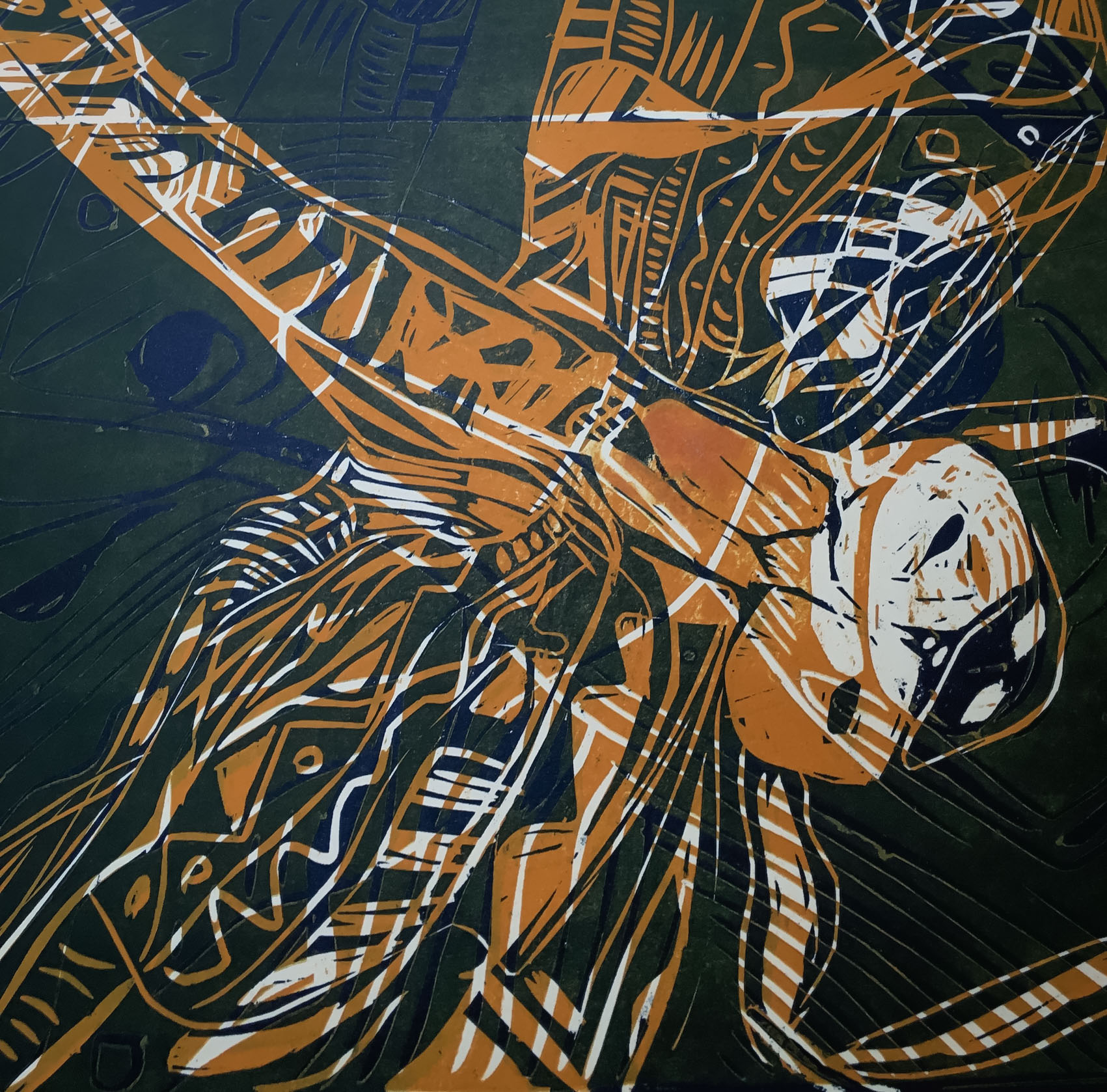 Class Artwork – Lino Relief Printmaking Dragonfly