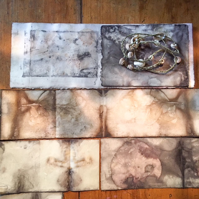 Class Artwork – Eco Dyeing Workshop using Silk, Linen and Wool – click to view class details