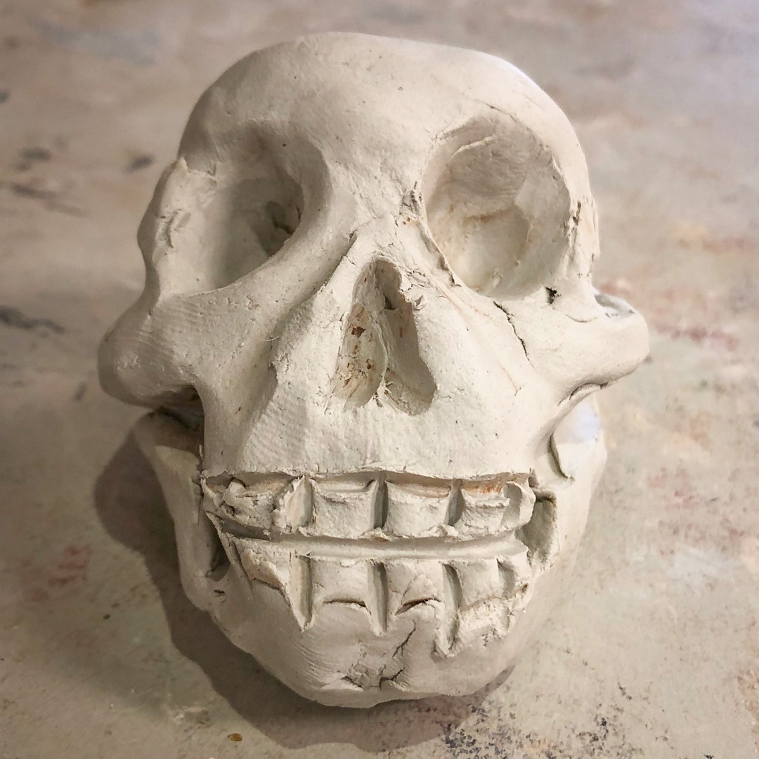 Class Artwork – Handbuilding in Clay: The Skull – click to view class details