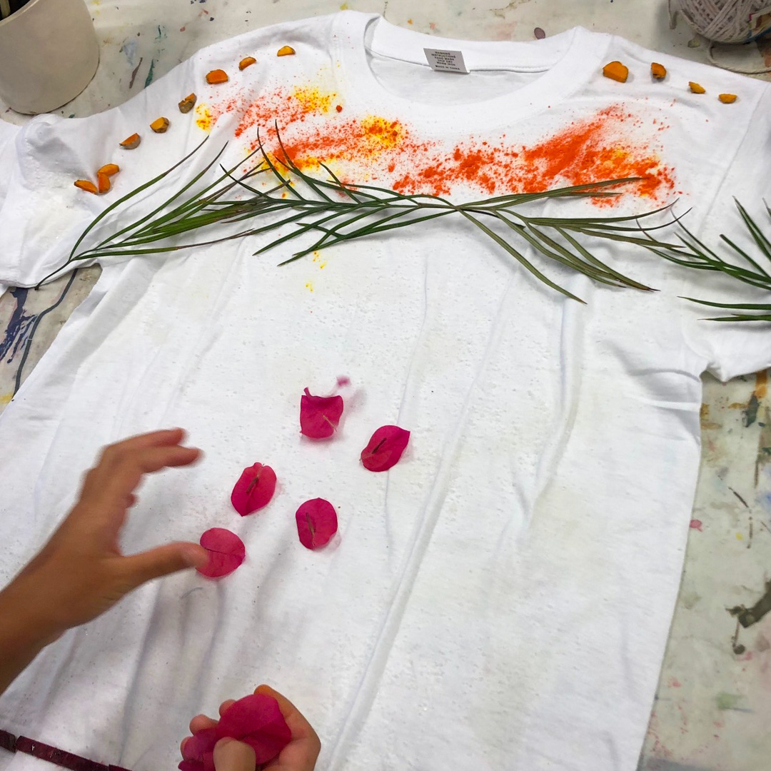 Class Artwork – Student Eco Dyeing Tshirt – click to view class details