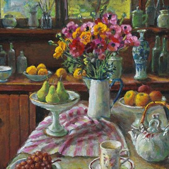 Margaret Olley, Ranunculus and pears,2004