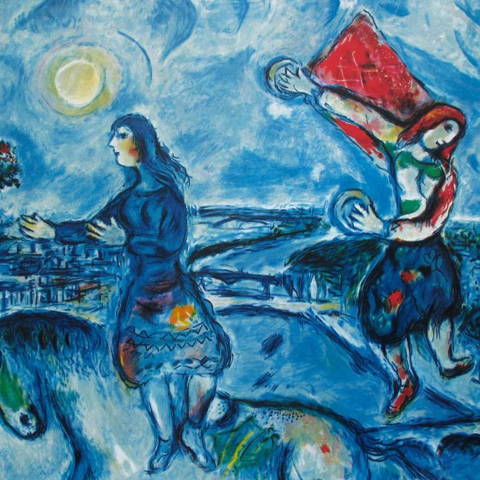 Example Artwork – Lovers Over Paris, Marc Chagall – click to view class details