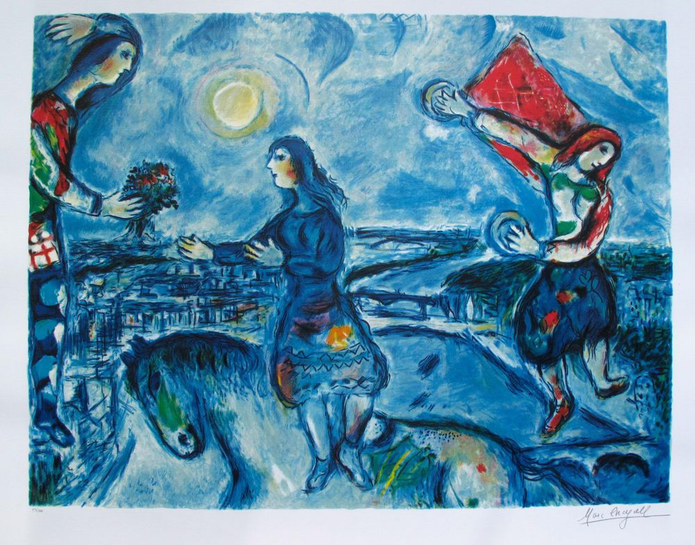 Example Artwork – Lovers Over Paris, Marc Chagall