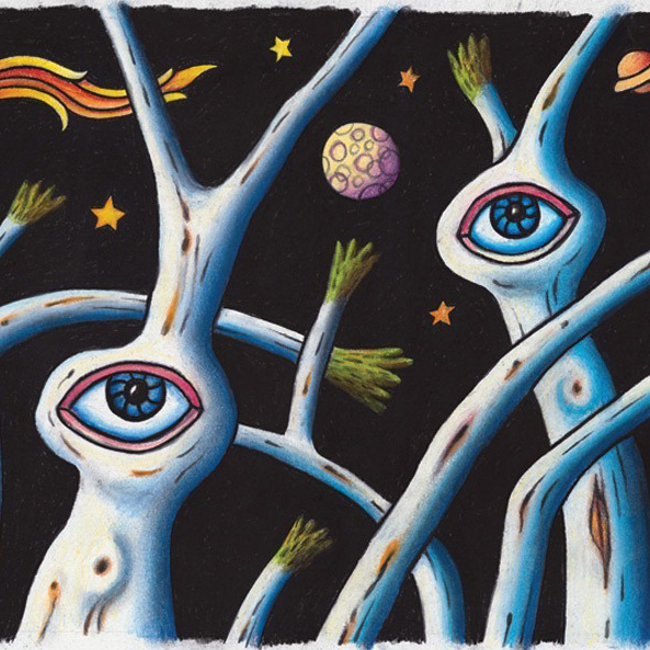 Example Artwork – Gumscape with stars and planets, Reg Mombassa – click to view class details