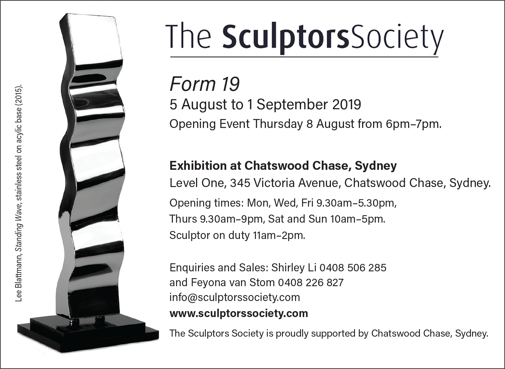 Sculptors Society Chatswood Chase Invitation
