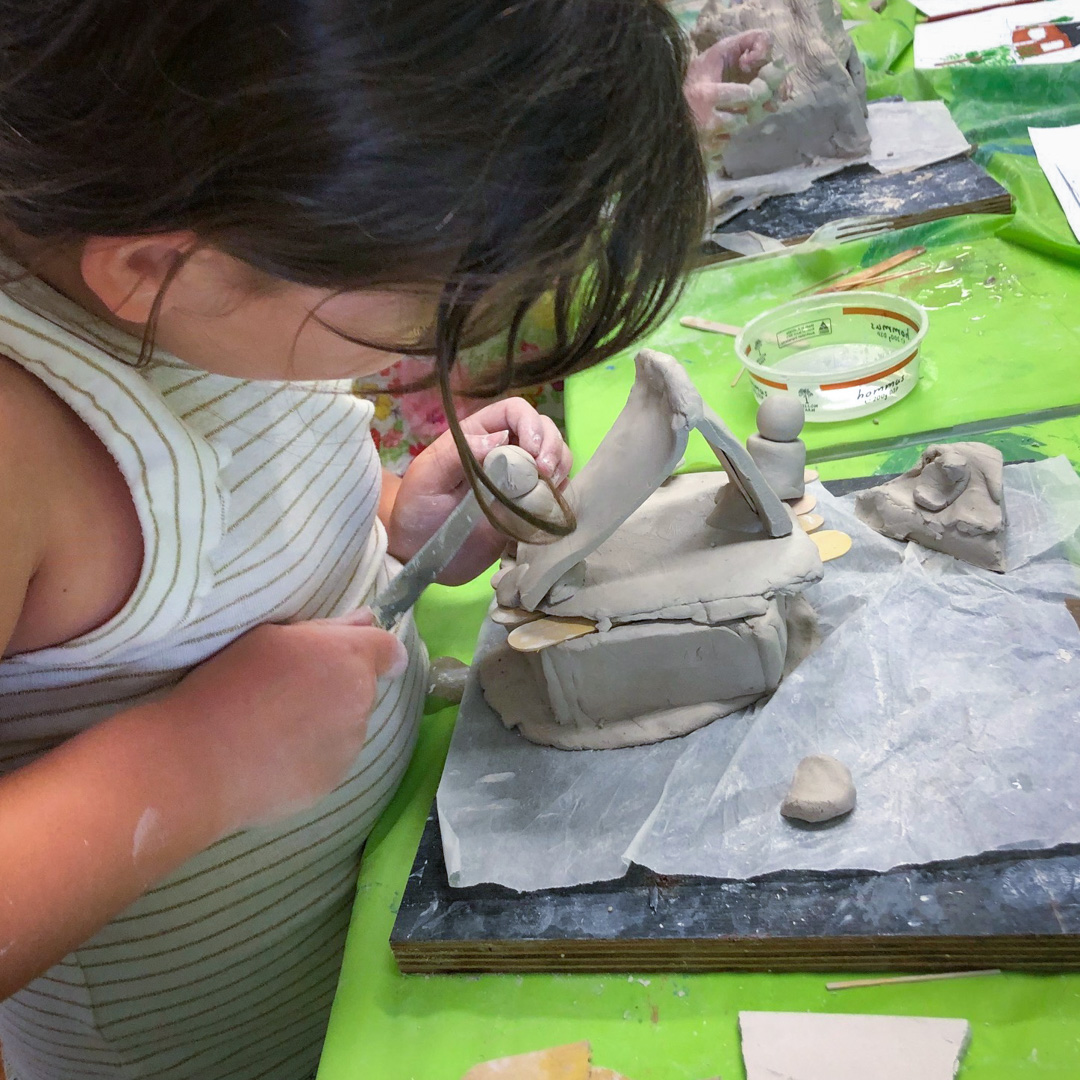 Class Image – Student Sculpting - Self Portrait Clay Handbuilding – click to view class details