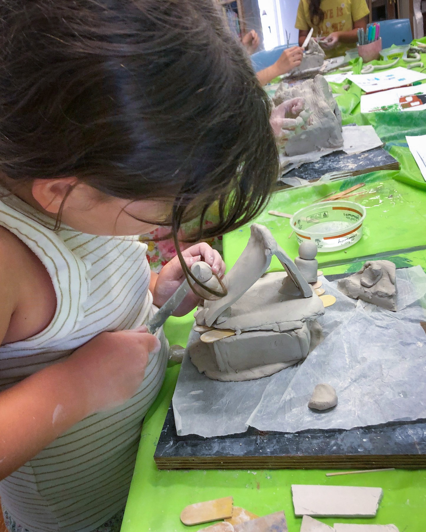 Class Image – Student Sculpting - Self Portrait Clay Handbuilding